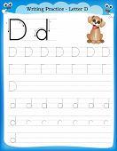 picture of letter d  - Writing practice letter D printable worksheet for preschool  - JPG