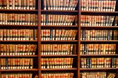 stock photo of book-shelf  - Law books in the book shelf in library - JPG