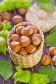 pic of cobnuts  - hazelnuts on plate and on a table - JPG