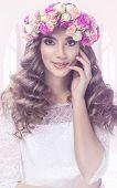 image of tiara  - Pretty woman portrait with flowers tiara  - JPG