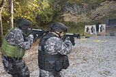 Picture of fight against terrorism, special forces soldier, shooting assault rifles