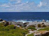 picture of breaker  - The rocks and the breakers of the Southern ocean at the south coast of Kangaroo island in Australia - JPG