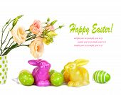 picture of easter eggs bunny  - Easter eggs bunnies and fun bouquet of flowers isolated on white background - JPG