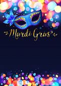 image of venice carnival  - Bright vector Mardi Gras poster template with bokeh effect lights and blue carnival mask - JPG