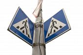 pic of pedestrian crossing  - pedestrian cross warning traffic sign  - JPG