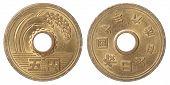 stock photo of japanese coin  - 5 Japanese yen isolated on white background close up - JPG