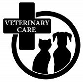 foto of veterinary  - medical isolated black icon with veterinary care symbol - JPG