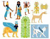 pic of sumerian  - A set of 9 illustrations of Babylonian gods - JPG