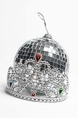 stock photo of pageant  - Tiara and disco ball two important part of the prom night - JPG