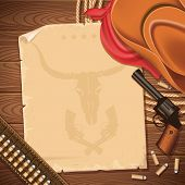 stock photo of guns  - Wild west background with cowboy hat and guns - JPG