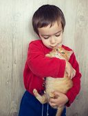 pic of kitty  - Portrait of child holding yellow kitty cat - JPG