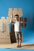 stock photo of berserk  - photo of the child on the medieval castle decorations background made of cardboards - JPG