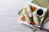 image of shrimp  - spring roll with shrimp and vegetables on a plate - JPG