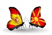pic of macedonia  - Two butterflies with flags on wings as symbol of relations Spain and Macedonia - JPG