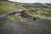 pic of collapse  - Collapsed A625 road in Peak District UK - JPG