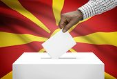 foto of macedonia  - Ballot box with national flag on background  - JPG