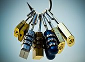 image of theft  - A fish hook with security locks representing computer data theft and vulnerability - JPG