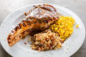 picture of pork chop  - Gourmet Main Entree Course grilled pork chop - JPG