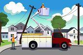 stock photo of power lines  - A vector illustration of worker fixing broken power lines - JPG