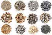 picture of dapple-grey  - Set of gravels and pebbles on white background - JPG