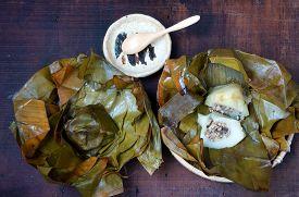 image of food pyramid  - Vietnamese food name Banh Gio - JPG