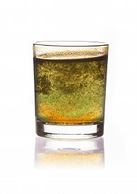 stock photo of toxic substance  - toxic water in glass with turbid sediment - JPG