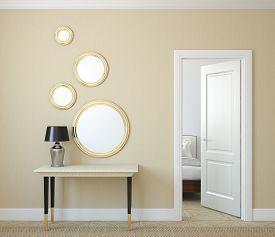 picture of console-mirror  - Modern hallway with open door - JPG