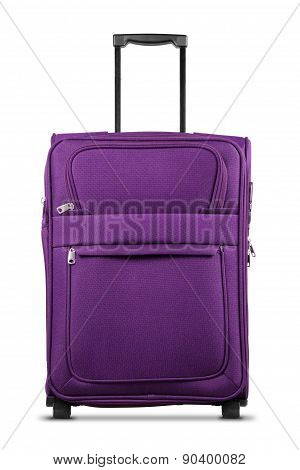 Purple Suitcase Isolated On White Background