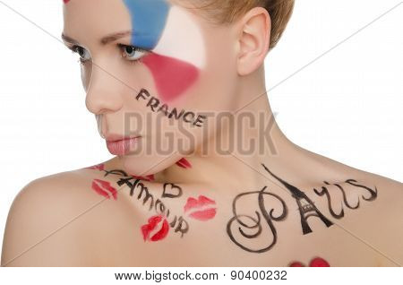 Beautiful Woman With Face Art On Theme Of France