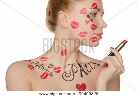 Beautiful Woman With Face Art On Theme Of Paris