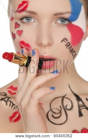 Portrait  Woman With Lipstick On Theme Of Paris