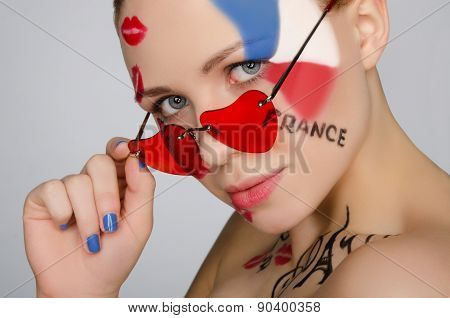 Portrait Woman With Glasses On Subject Of France