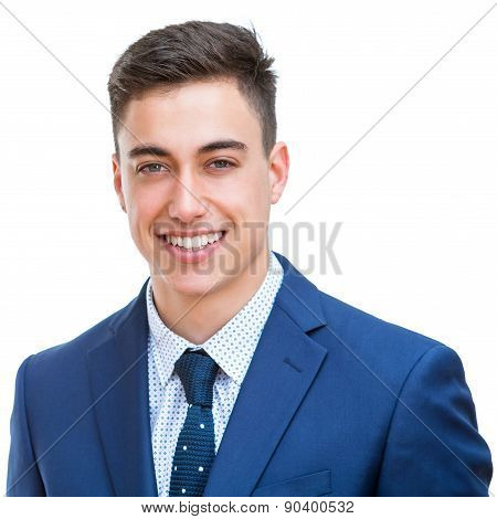Portrait Of Handsome Young Businessman Isolated.