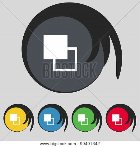Active Color Toolbar Icon Sign. Symbol On Five Colored Buttons. Vector