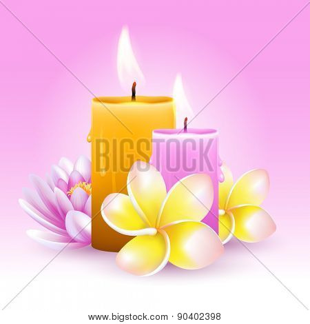 Vector still life on spa theme with frangipani, candles and lotus on pink background