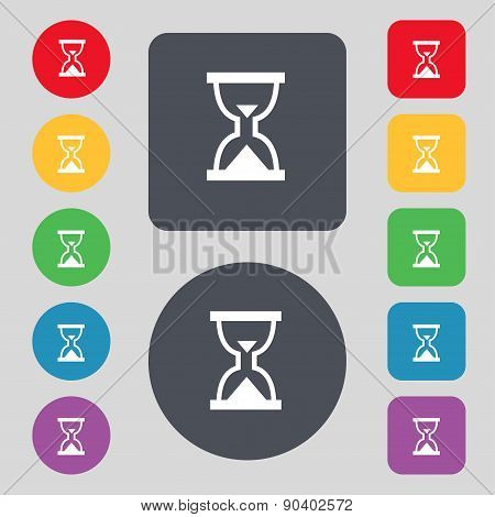 Hourglass, Sand Timer Icon Sign. A Set Of 12 Colored Buttons. Flat Design. Vector
