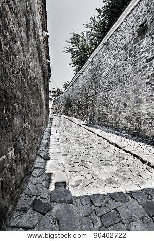Small Roman Street Between Fortress Walls