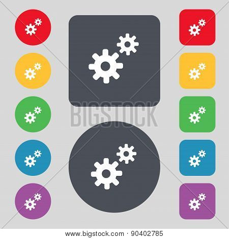Cog Settings,  Cogwheel Gear Mechanism Icon Sign. A Set Of 12 Colored Buttons. Flat Design. Vector