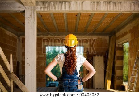 Confident Woman Bricklayer