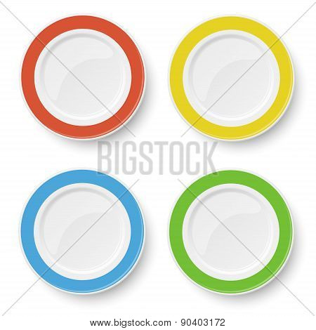 Set Of Color Plates Solated On White Background