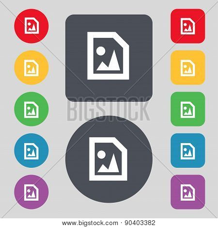 File Jpg Icon Sign. A Set Of 12 Colored Buttons. Flat Design. Vector