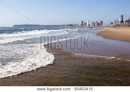 Durban's Incomming Tide With Hotels In Background