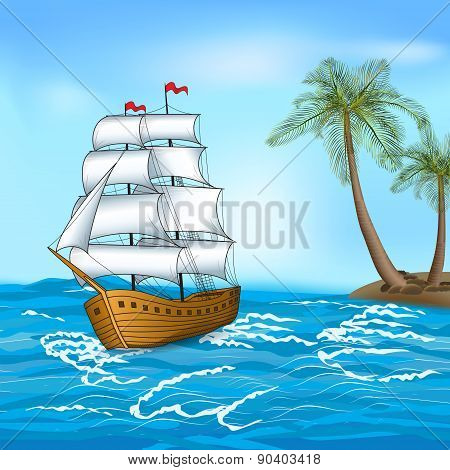Vintage Sailing Ship In The Sea Against The Backdrop Of Palm Trees