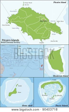 The Pitcairn Group of Islands are a group of four volcanic islands in the southern Pacific Ocean that form the last British Overseas Territory in the Pacific.