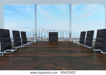 Conference Room With Large Wooden Desk And Skyline Window