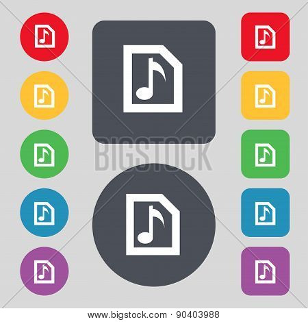 Audio, Mp3 File Icon Sign. A Set Of 12 Colored Buttons. Flat Design. Vector