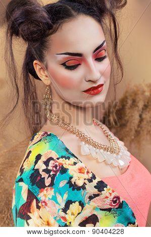 Stylized Portrait Of A Japanese Geisha