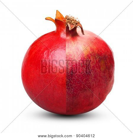 Overripe and fresh pomegranate isolated on white background. Aging concept.