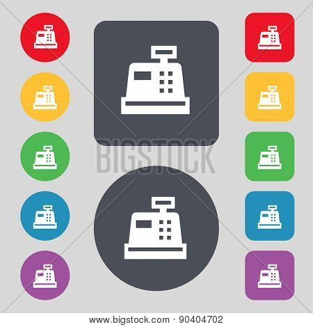 Cash Register Icon Sign. A Set Of 12 Colored Buttons. Flat Design. Vector