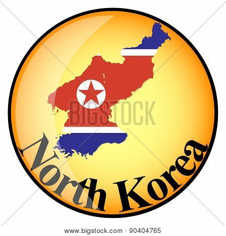 Orange Button With The Image Maps Of North Korea
